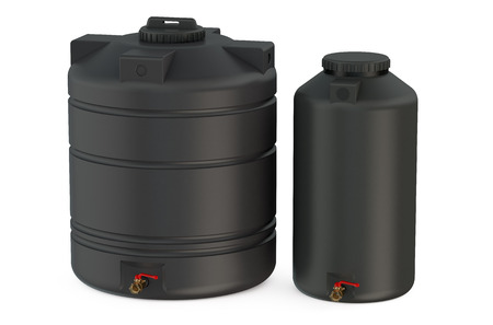 black water tanks isolated on white background