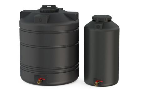 envases de plástico: tanques de agua negros aislados en el fondo blanco