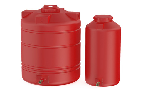 water tanks: red water tanks isolated on white background