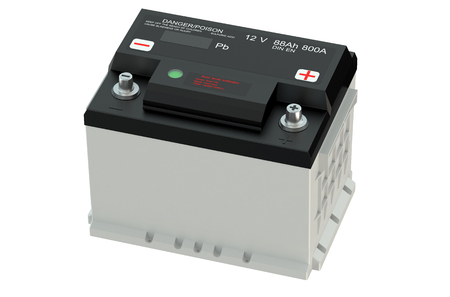 electrics: battery car isolated on white background