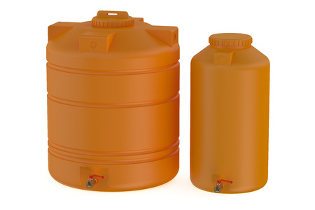 water tanks: orange water tanks isolated on white background Stock Photo