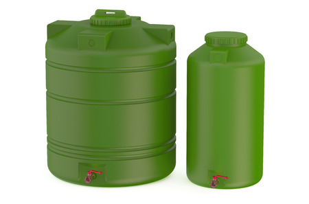 water tanks: green water tanks isolated on white background