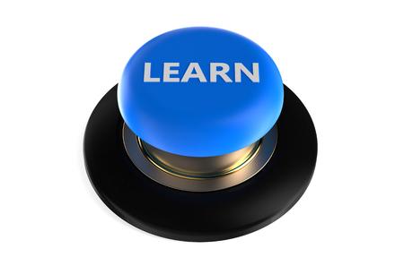 「学ぶ」白い背景で隔離のプッシュ ボタン