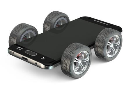 Smartphone on wheels isolated on white background Stockfoto