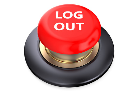 log out: Log out Red button isolated on white background