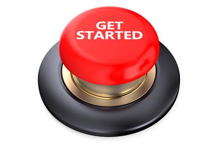 白い背景に分離された開始の赤いボタンを取得します。
