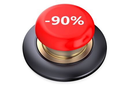 90: 90 percent discount Red button isolated on white background