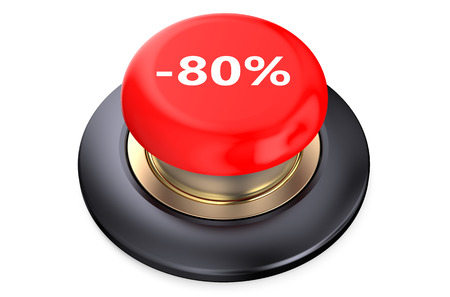 80: 80 percent discount Red button isolated on white background Stock Photo