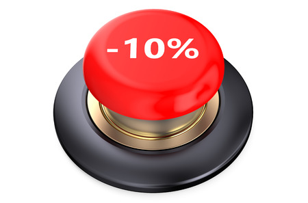 10: 10 percent discount Red button isolated on white background Stock Photo