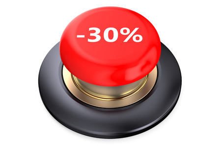 red button: 30 percent discount Red button isolated on white background Stock Photo