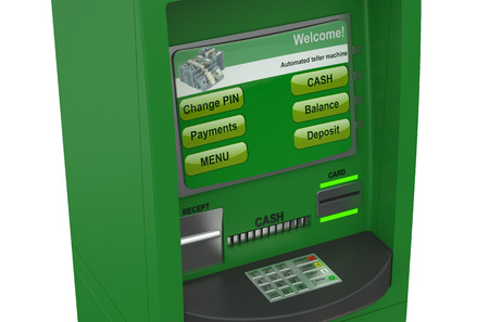 cash machine: Cash machine closeup isolated on white background
