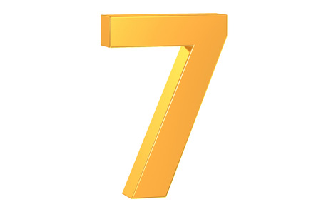 number 7: 3D golden number 7 isolated on white background Stock Photo