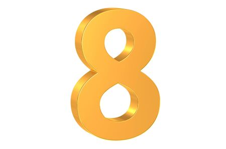 number 8: 3D golden number 8 isolated on white background