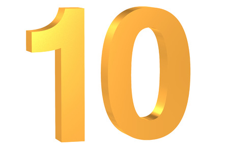 number 10: 3D golden number 10 isolated on white background Stock Photo