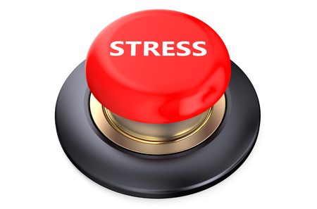 mental object: Stress Red Button  isolated on white background