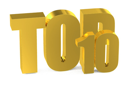 top 10: Top 10, 3d illustration isolated on white background Stock Photo