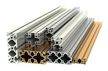 aluminum background: Aluminum profiles and copper profiles isolated on white background