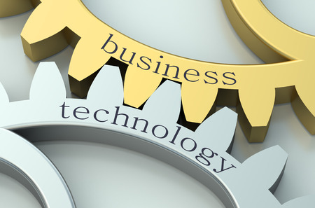 Business and Technology  concept on metallic gearwheel