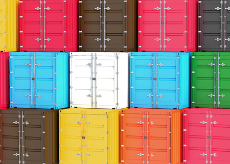 seafreight: A stack of cargo containers Stock Photo
