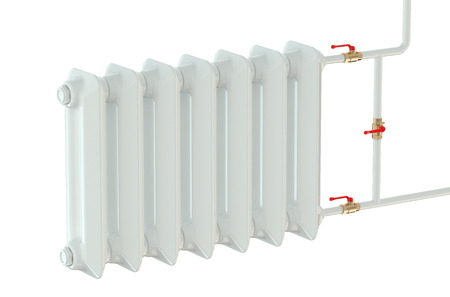 convective: cast iron heating radiator isolated on white background