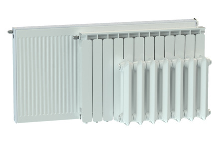 convective: heating radiators isolated on white background Stock Photo