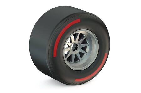 slick: racing wheel with hard tyre isolated on white background