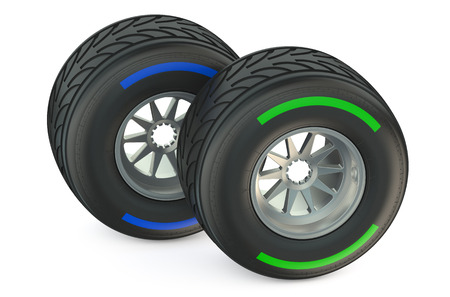 bolide: racing wheels with wet tyres isolated on white background