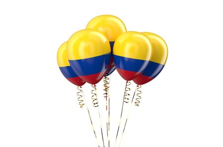 declaration of independence: Colombia patriotic balloons isolated on white background