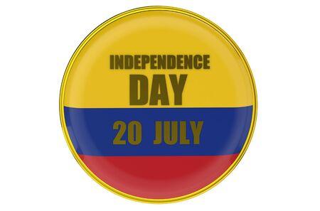 declaration of independence: Independence Day in Colombia badge isolated on white background Stock Photo