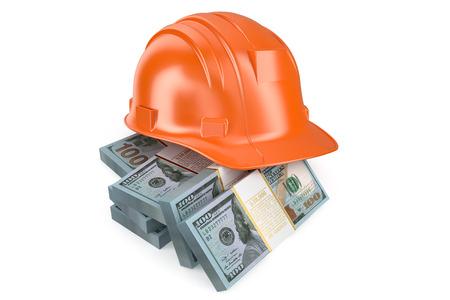 money packet: Hard hat with money isolated on white background