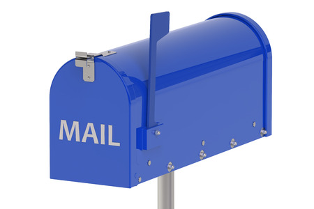 metal mailbox: Blue Mailbox isolated on white background