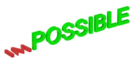 possible: from impossible to possible concept isolated on white background