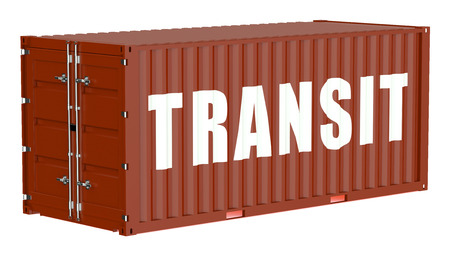 cargo container: cargo container, transit concept isolated on white background Stock Photo