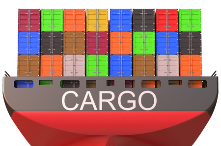 container ship, cargo concept isolated on white background