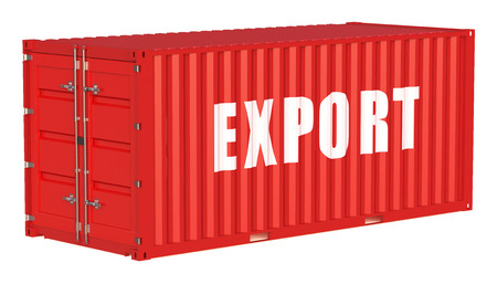 export concept with cargo container isolated on white background