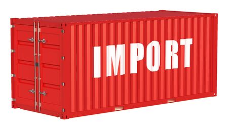 import: import concept with cargo container isolated on white background