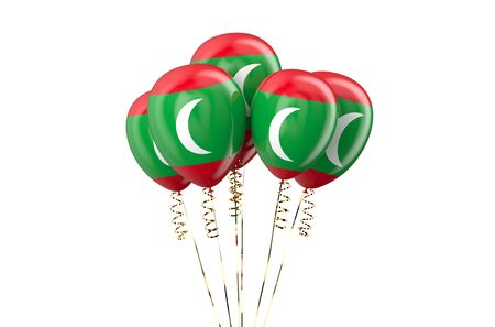 declaration of independence: Maldives patriotic balloons isolated on white background
