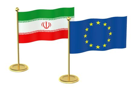 industrialized country: EU with Iran flag isolated on white background Stock Photo