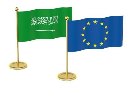 sheik: EU with Saudi Arabia flags isolated on white background