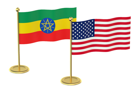 industrialized country: USA with Ethiopia flags isolated on white background Stock Photo