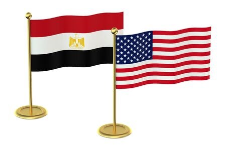 economic issues: USA with Egypt flags isolated on white background Stock Photo
