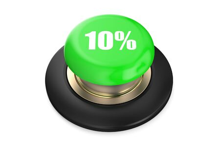 10: 10 percent discount green button isolated on white background