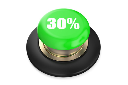 the 30: 30 percent discount green button isolated on white background