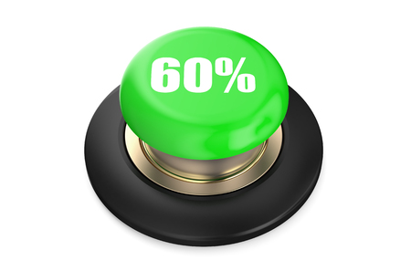 60: 60 percent discount green button isolated on white background Stock Photo