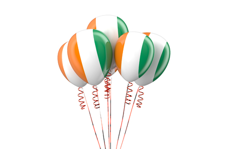 declaration of independence: Ivory Coast patriotic balloons  isolated on white background