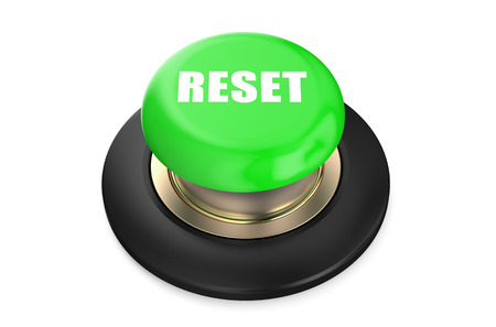 redesign: reset green  button isolated on white background Stock Photo