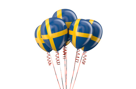 declaration of independence: Sweden patriotic balloons isolated on white background