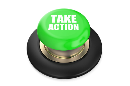 pushbutton: Take Action red push-button  isolated on white background Stock Photo