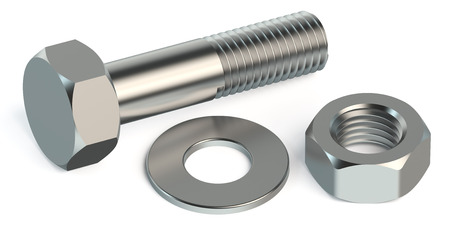 bolt, nut and washer isolated on white background