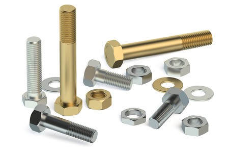 bolts and nuts: bolts, nuts and washers isolated on white background